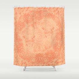 Ghostly alpacas with mandala in peach echo Shower Curtain