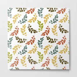 Colorful Leaves, Leaf Pattern - Blue Green Yellow Metal Print