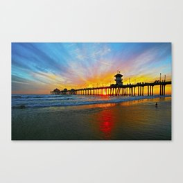 Sunset Huntington Beach Pier   Canvas Print