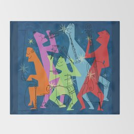 Mid-Century Modern Jazz Throw Blanket