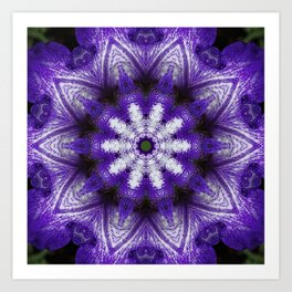Glowing Violet Star - Iris Stepping Out Kaleidoscope Art Print