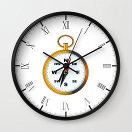 Golden Compas Wall Clock