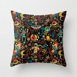 Russian Khokhloma Sci-Fi Throw Pillow