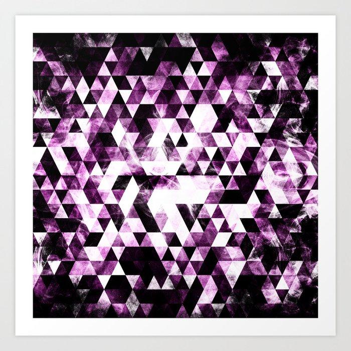 Triangle Geometric Vibrant Pink Smoky Galaxy Art Print