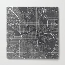 Calgary Map, Canada- Gray Metal Print