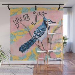 Blue Jay and Roses Wall Mural