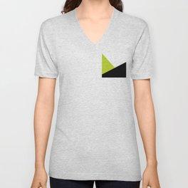 Trichromatic Black White Lime Color Block Unisex V-Neck