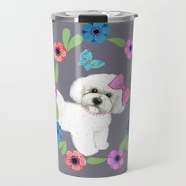 Bichon Frise gift, Dog with butterfly and flowers Travel Mug
