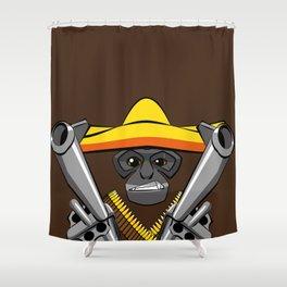 Gibbon Desperado with Guns Shower Curtain
