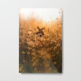 Windmill in the Middle of Bokeh Field Metal Print