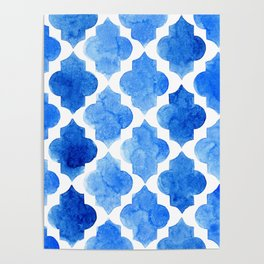 Quatrefoil pattern in shades of blue Poster