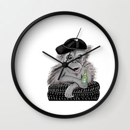 Monkey with beer Wall Clock