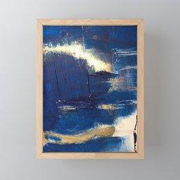 Halo [2]: a minimal, abstract mixed-media piece in blue and gold by Alyssa Hamilton Art Framed Mini Art Print