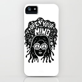 Open Your Mind in black iPhone Case