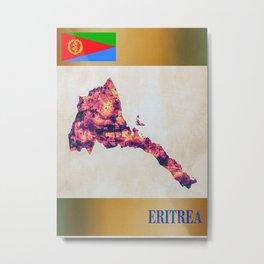 Eritrea Map With Flag Metal Print