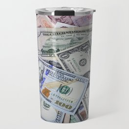 A collection of various foreign currencies Travel Mug
