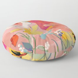 blooming abstract pink Floor Pillow