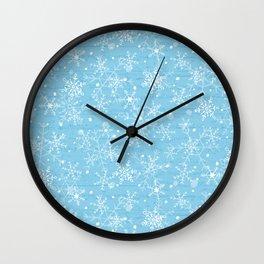 Snowflakes on Blue Wood Wall Clock