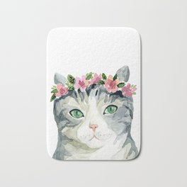 grey cat with flowers Bath Mat