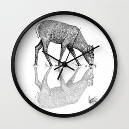 Black & White Line Work Animal Reflection Vector Wall Clock
