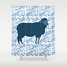 Sheep on floral pattern Shower Curtain