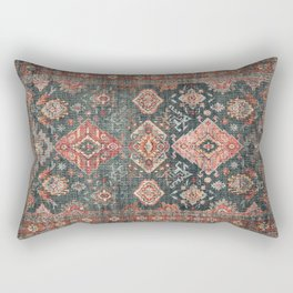 N255 - Vintage Oriental Old Traditional Boho Moroccan Fabric Style Rectangular Pillow