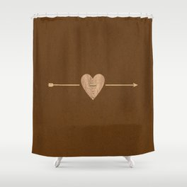 Rustic Brown Heart & Arrow Shower Curtain