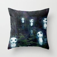 kodama Throw Pillows featuring Princess Mononoke - The Kodama by pkarnold + The Cult Print Shop