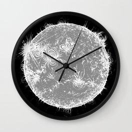 Large Sun Print, monochrome star design by Little Lark Wall Clock