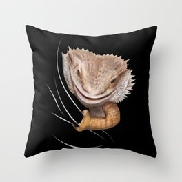 Bearded Dragon Animal Coming From Inside Throw Pillow
