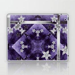 Silver flowers on purple and black textured mandala Laptop & iPad Skin