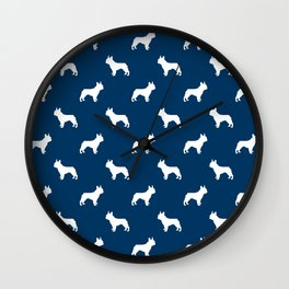French Bulldog silhouette blue and white minimal dog pattern dog breeds Wall Clock