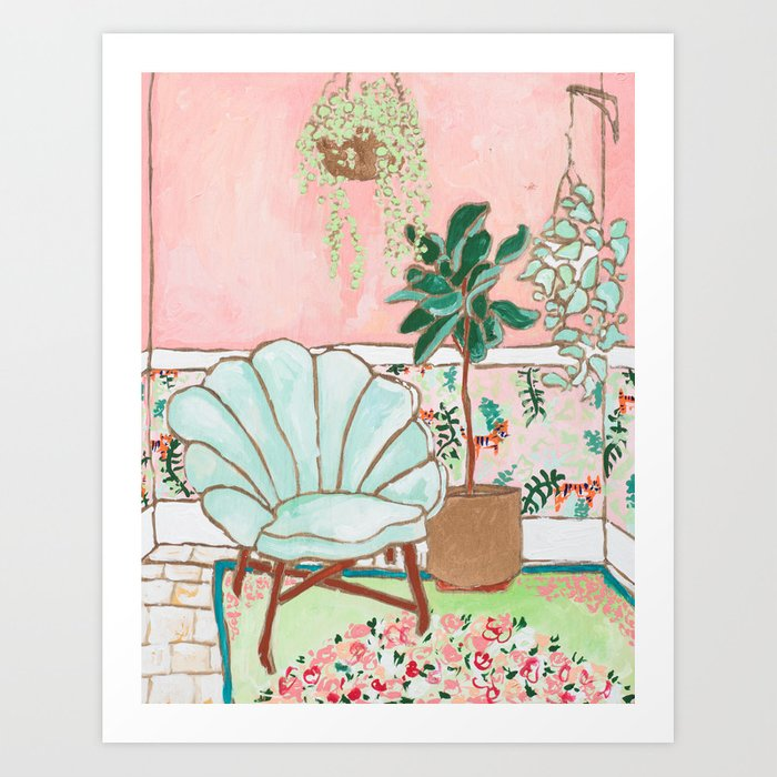 Art Deco Velvet Mint Shell Chair in Jungle Room with Tigers Art Print