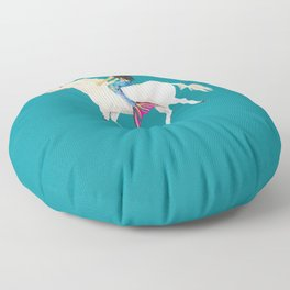 To the Land of Mermaids and Unicorns Floor Pillow