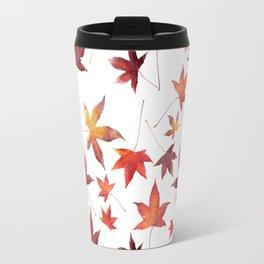 Dead Leaves over White Travel Mug