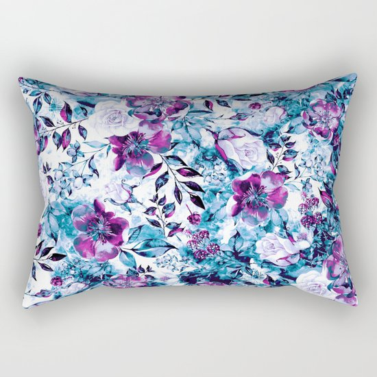 RPE FLORAL BLUE Rectangular Pillow