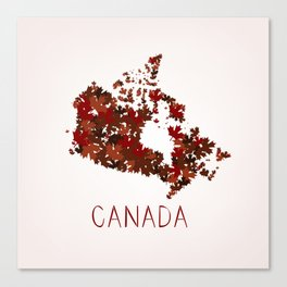 Maple Leafs Map of Canada Canvas Print