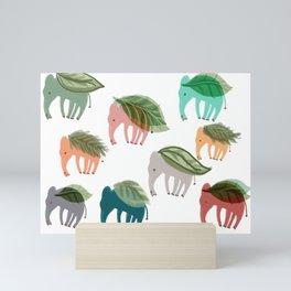 Elephants, leaves & imagination Mini Art Print