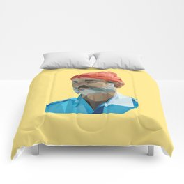 Steve Zissou low poly portrait Comforters