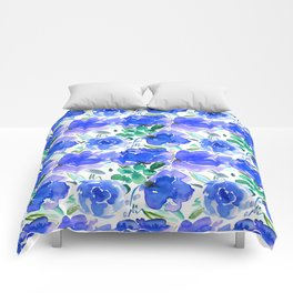 Big Blue Watercolour Painted Floral Pattern Comforters