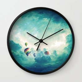 Magnificent Fantasy Hot Air Balloons Rising In The Clear Sky Ultra HD Wall Clock