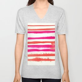 Orange & Pink Watercolor Stripes Unisex V-Neck