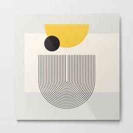 Abstraction_GEOMETRIC_SHAPE_YELLOW_LINE_POP_ART_000 Metal Print