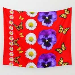 PURPLE PANSIES, WHITE DAISIES, MONARCH BUTTERFLIES RED ART Wall Tapestry