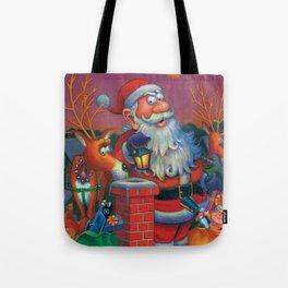 Santa's in a Tight Spot Tote Bag