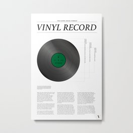 The Iconic Vinyl Record (White, Green) Metal Print