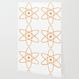 Mid Century Modern Atomic Orange Wallpaper
