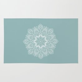 Temptation Mandala on Milky Blue Background Rug