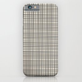 Fine Weave Mid-Century Modern Woven Pattern in Charcoal Gray and Almond Cream iPhone Case