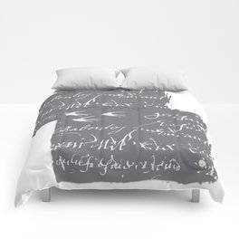 French Script on Steel Gray Comforters